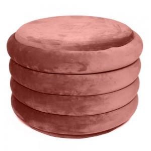 Pouf in velluto rosa H 39 cm