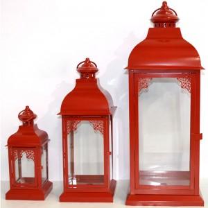 Lanterne Set 3 Pezzi Rosse...